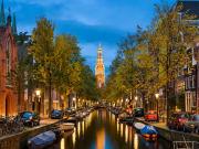 amsterdam, canals, night, evening, lights, church