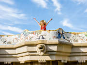 park guell, woman, tourist, barcelona