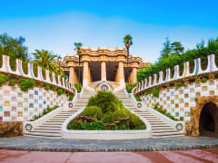 park guell, entrance, stairs