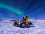 snowmobile, aurora borealis