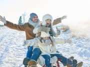 toboggan, snow, winter, family