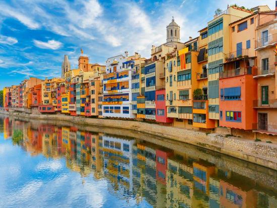 Girona. Onyar river, coloful houses, catalonia, spain
