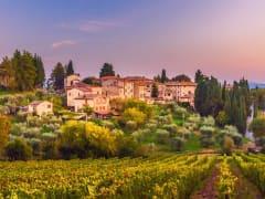hamlet Fonterutoli on sunset, bastion of Castellina, Chianti, Siena, Tuscany, Italy