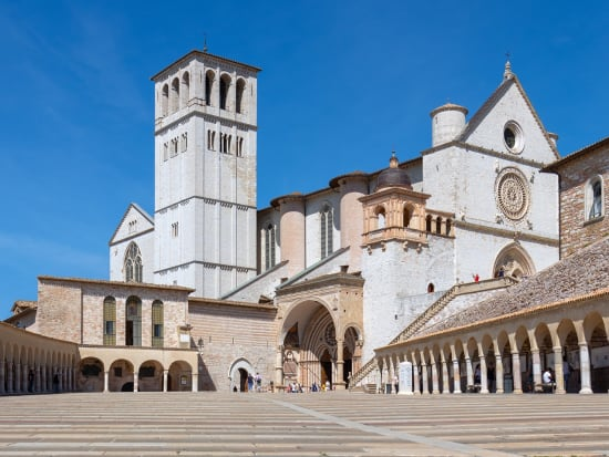 Basilica of St. Francis of Assisi (Basilica Papale di San Francesco) with lower square. Assisi, Umbria, Italy