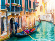 venice, gondola ride, couple
