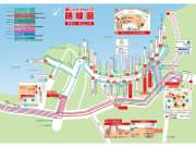 赤いシャトルバスのルートマップ