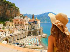 amalfi coast from naples, tourist