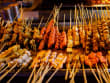 Beijing Market various meats on sticks