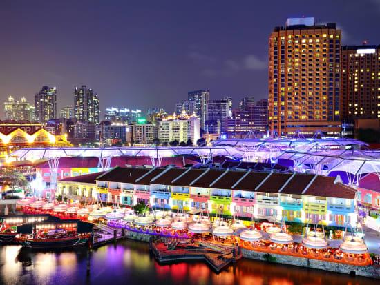 Singapore_Marina Bay_Clarke Quay_Night View_shutterstock_97534808