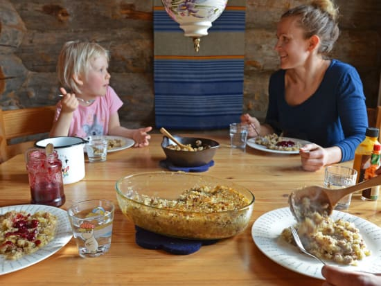finnish family eating cabbage casserole for dinner