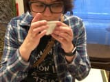 Here I am trying sencha tea at a lovely tea shop!