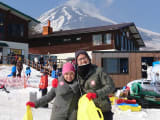 At Snowtown Yeti with the view of Mt Fuji, before for the sleigh ride!