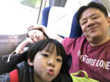 On the train with my kids