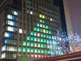 建設中のビルでクリスマスツリーのライトアップ