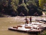ゾウに乗って川を渡る
