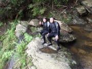 滝の上で、ほっと一息。