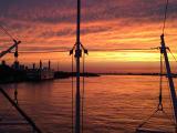 ミシシッピ川に映える夕日