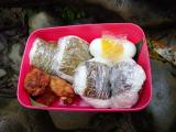 滝壺のそばで食べるおにぎりは最高でした。みんなの分のお弁当を持ってきてくれたガイドさん、ありがとうございました