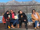 4 of us enjoying  the view of Mount Fuji