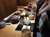 The tea ceremony setup.
